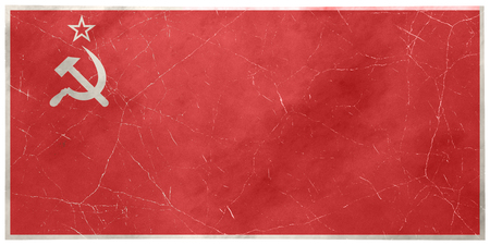 Soviet Union, symbol and flag, USSR, ruined postcard with frame. Flag of the Soviet Union photographed and printed on a postcard
