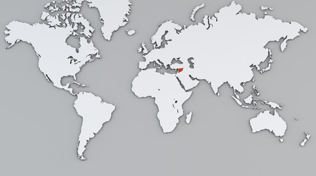 World map, white geographical map, Syria red map