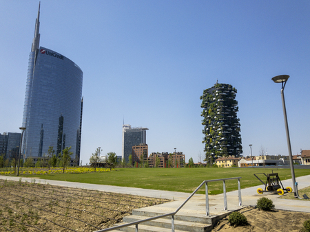 Foundation Riccardo Catella, Unicredit tower and Vertical Forest, Library of trees, new park in Milan, skyscrapers. April, 30, 2018. Lombardy, Italy Editorial