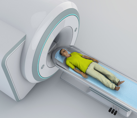 CT scan, computed tomography scan, X-ray measurements to produce cross-sectional (tomographic) images of specific areas of a scanned object. Young patient lying down ready for a computerized axial tomography. 3d rendering Stock Photo