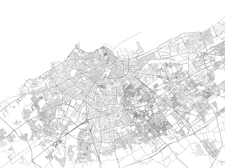 Streets of Casablanca, city map, Morocco, satellite view. Street Illusztráció