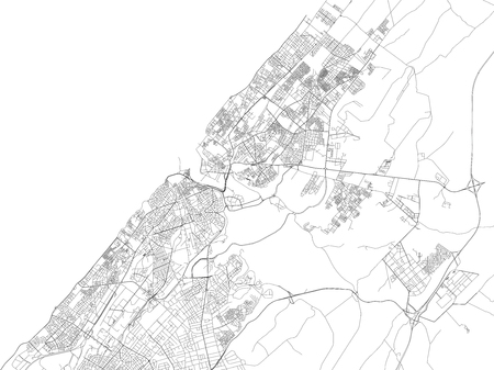 Streets of Rabat, city map, capital, Morocco, satellite view. Street Illustration
