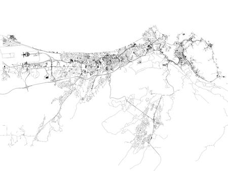 Strade di Muscat, mappa della città, capitale, Oman. Strade e aree urbane. Medio Oriente