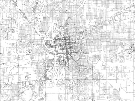 Streets of Indianapolis, city map, capital city, Indiana. Streets and urban area. USA. The city is the most populous city of the US state of Indiana and the seat of Marion County