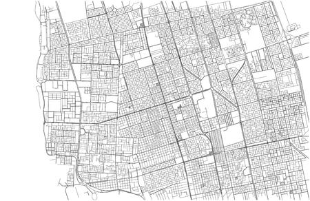 Streets of Jeddah, city map, Saudi Arabia, satellite view. Street