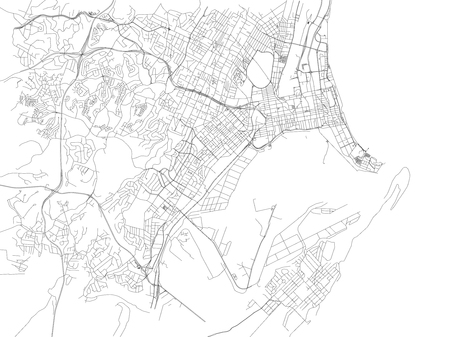 Streets of Durban, city map, South Africa. Street map. Africa