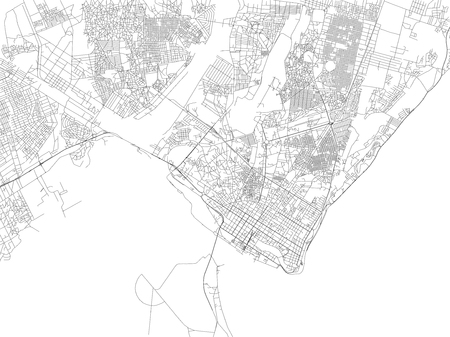 Streets of Maputo, map of the city, capital, Mozambique. Street. Africa Çizim