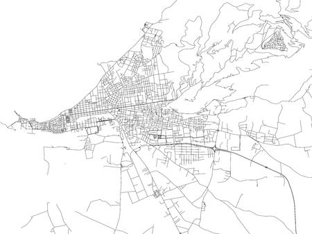 Rues de Trapani, plan de la ville, capitale régionale, Sicile, Italie. Des rues
