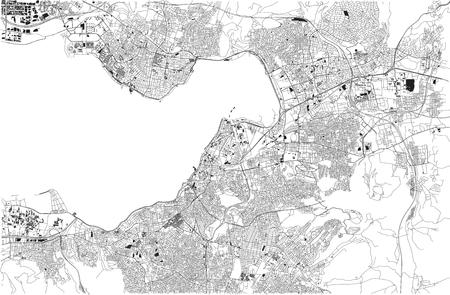 Map of Izmir, Izmir, satellite view, city, Turkey Illustration