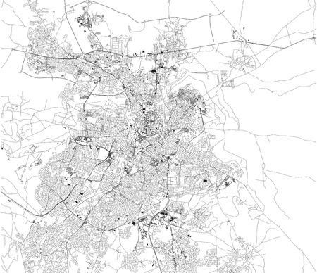 Map of Nicosia and Strovolos, satellite view, city, Cyprus. Turkish part and Greek part of the urban area