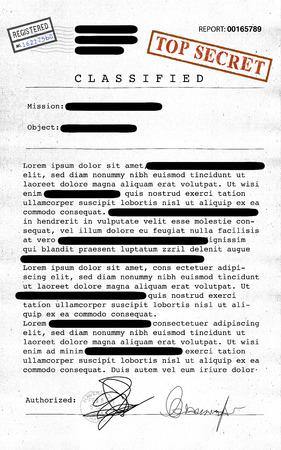 Top secret document, declassified, confidential information, secret text. Non-public information. Sheet of paper with classified information