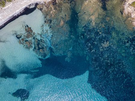 Aerial view of Tamarone beach, Plage de Tamarone, Cap Corse peninsula, Macinaggio, Corsica, France