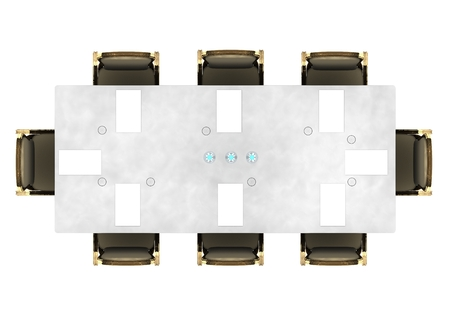 Meeting table, conference table seen from above, events. Conference hall. 3d rendering