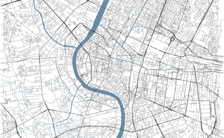 Bangkok map, satellite view, city, Thailand. Streets and rivers