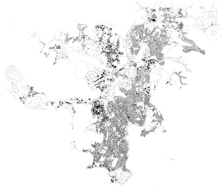 Map of Noumea, satellite view, city, New Caledonia. Houses and streets