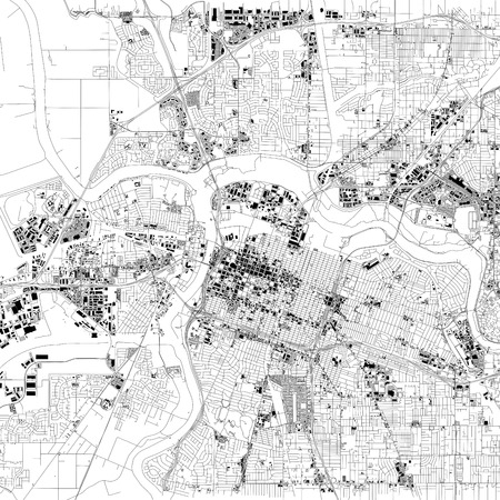 Map of Sacramento, satellite view, capital city, city, California, United States. Houses and streets