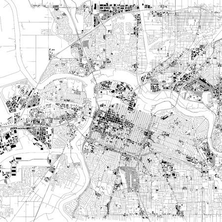 Karte von Sacramento, Satellitenansicht, Hauptstadt, Stadt, Kalifornien, Vereinigte Staaten. Häuser und Straßen