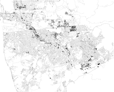 Map of Tijuana, satellite view, black and white map. Street directory and city map. Mexico, California