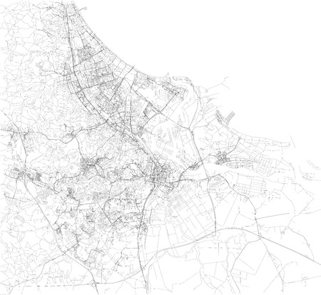 Map of Gdansk, satellite view, black and white map. Street directory and city map. poland