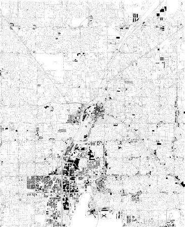 Map of Las Vegas, satellite view, black and white map. Street directory and city map. Nevada, United States