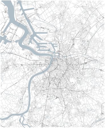 Map of Antwerp, satellite view, black and white map. Street directory and city map. belgium