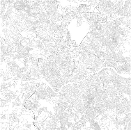 Map of Hyderabad, Telangana, satellite view, black and white map. Street directory and city map. India