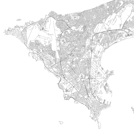 Map of Dakar, satellite view, black and white map. Street directory and city map. Senegal