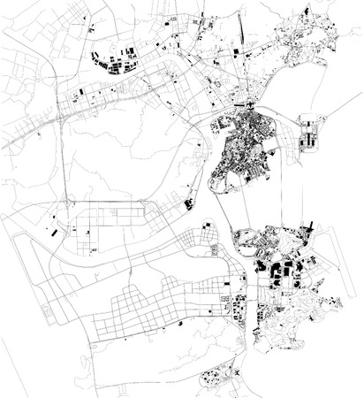 Map of Macau, Macau, satellite view, black and white map. Street directory and city map. china