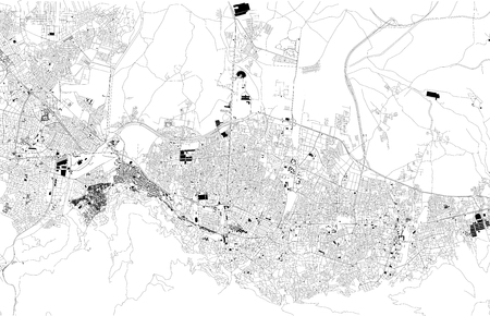 Map of Bursa, Turkey, satellite view, black and white map. Street directory and city map. Asia 일러스트
