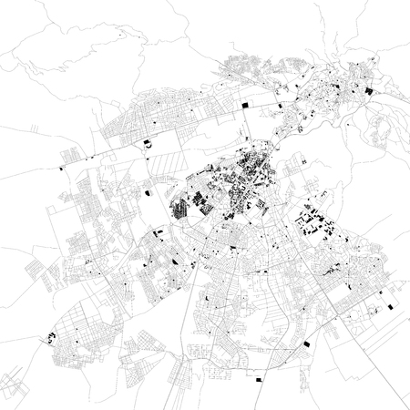 Map of Fez, Morocco, satellite view, black and white map. Street directory and city map. Africa