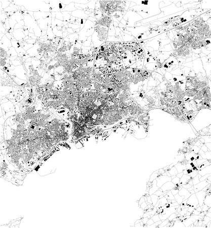 Map of Brest, France, satellite view, black and white map. Street directory and city map Illustration