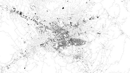 Satellite map of Tirana, Albania, city streets. Street map, city center Illustration