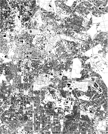 Satellite map of Bangalore, India, streets of the city. Street directory and map of the city center Illustration