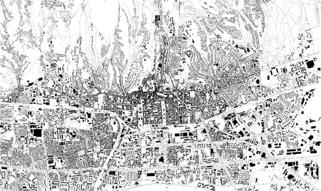Satellite map of Zagreb, Croatia, capital, city streets. Street map, city center
