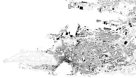 Satellite map of Split, Croatia, city streets. Street map, city center