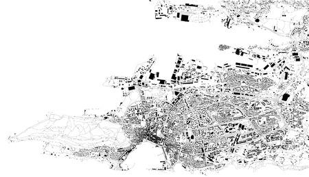 Satellitenkarte von Split, Kroatien, Stadtstraßen. Straßenkarte, Stadtzentrum Vektorgrafik