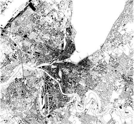 Mapa satelital de las calles de la ciudad de Ginebra, Suiza. Mapa de calles, centro de la ciudad Ilustración de vector
