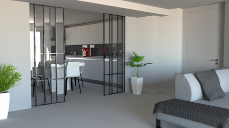 Sliding door, living room and kitchen partition, modern apartment entrance, industrial style. 3d rendering