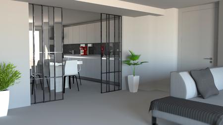 Sliding door, living room and kitchen partition, modern apartment entrance, industrial style. 3d rendering Foto de archivo - 109901925