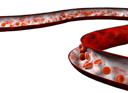 Red blood cells and blood flow through a vein, small spherical cells that contain hemoglobin, a protein that gives a color to the blood and is able to bind oxygen through the iron inside it. Blood test Stock fotó