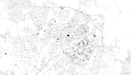 Satellite map of Abuja, Nigeria, city streets. Street map, city center. Africa