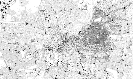 Satellite map of Santiago, Chile. Street map, city center. South America Illustration