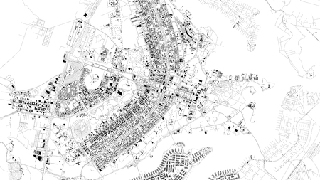 Satellite map of Brasilia, Brazil, city streets. Street map, city center. South America