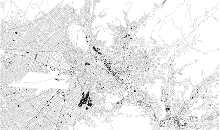 Satellite map of La Paz, Bolivia city streets. Street map, city center. South America Ilustração