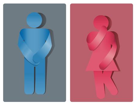Simbolo della toilette, bagno uomo e donna. Incontinenza urinaria Vettoriali