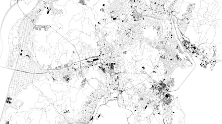 Satellite map of Busan Metropolitan City, Pusan, city streets. Street map, city center. South Korea Çizim