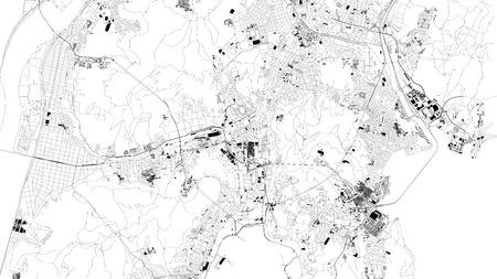 Satellite map of Busan Metropolitan City, Pusan, city streets. Street map, city center. South Korea Illustration