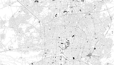 Satellite map of Isfahan, Iran, city streets. Street map, city center