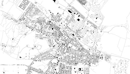 Satellite map of Ashgabat, Turkmenistan, city streets. Street map, city center. Asia Vectores