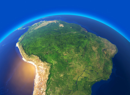Satellite view of the Amazon, map, states of South America, reliefs and plains, physical map. Forest deforestation. 3d rendering. Element of this image is furnished by NASA
